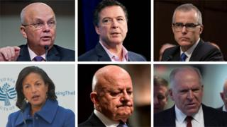 Clockwise from top left: Michael Hayden, James Comey, Andrew McCabe, John Brennan, James Clapper, and Susan Rice.