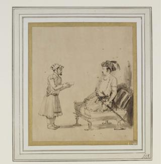 A drawing on paper of Mughal Emperor Jahangir receiving an officer by Dutch artist Rembrandt.
