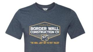 """T-shirt reading: """"Donald J Trump Border Wall Construction Co The Wall Just Got 10 Feet Taller with image of wall"""