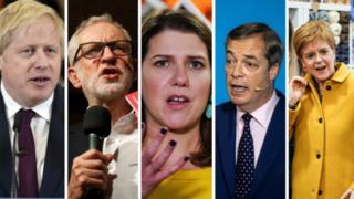 Boris Johnson, Jeremy Corbyn, Jo Swinson, Nigel Farage and Nicola Sturgeon