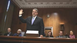 A confirmation hearing for US counterterrorism director Nicholas Rasmussen in Washington DC in 2014