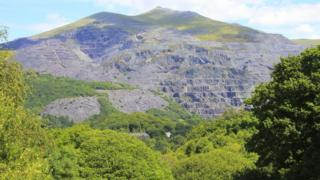 Photo of the slate quarry terraces at Llanberis