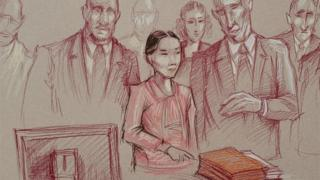 "Yujing Zhang, 33, flanked by two U.S. marshals, stands to leave after she was found guilty of lying to a federal officer and trespassing at U.S.President Donald Trump""s Mar-a-Lago resort, in a sketch made at U.S. District Court in Fort Lauderdale, Florida,"