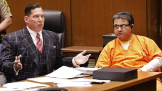 Naason Joaquin Garcia (R), the leader of a Mexico-based La Luz del Mundo evangelical church, along with his defense attorney Ken Rosenfeld (L), attend a bail review hearing at Los Angeles Superior Court, in Los Angeles