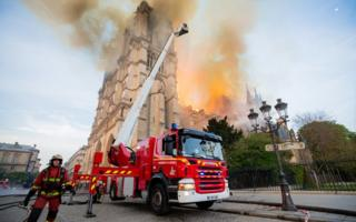 French firefighters at the scene of the fire at Notre Dame cathedral in Paris