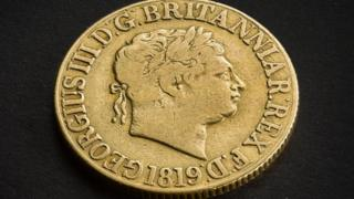 Gold sovereign from 1819 being put up for sale by the Royal Mint