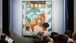 """El cuadro """"Los Rivales"""" exhibido en una subastas en Nueva York"""