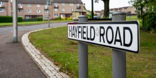 Hayfield Road sign, Kirkcaldy
