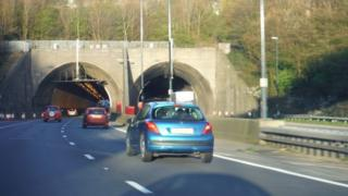 The eastbound entrance to the Brynglas Tunnels on the M4
