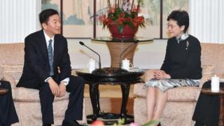 骆惠宁2018年以山西省委书记身份到访香港,与特首林郑月娥会面。