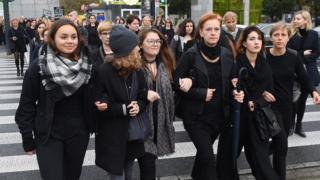 Protesters dressed in black during the nationwide women's strike in Warsaw, Poland, 03 October, 2016.