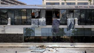A general view showing the damages after an explosion hit Kingsbury Hotel in Colombo