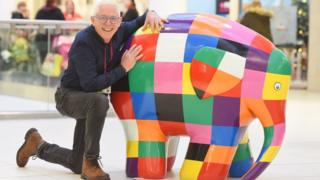 Campaign manager Norman Lloyd with Elmer the elephant