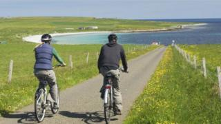 Cyclists on Orkney