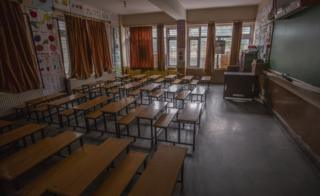 An empty classroom in Srinagar