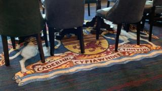 The carpet with the coat of arms