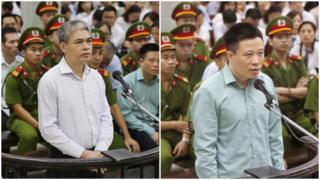 Ông Nguyễn Xuân Sơn (trái) bị kết án tử hình còn ông Hà Văn Thắm bị tuyên án chung thân