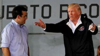 Donald Trump y el gobernador Ricardo Roselló