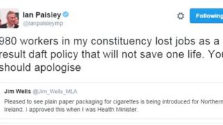 Mr Paisley posted this tweet in response to an earlier one posted by Mr Wells