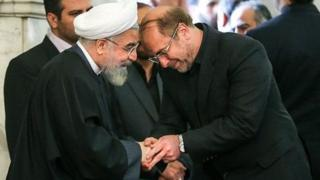 محمدباقر قالیباف شهردار تهران و حسن روحانی رئیس جمهور ایران
