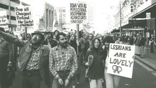 "Marchers in the 1978 Mardi Gras and Gay Solidarity Group protests hold placards including ""lesbians are lovely"" and ""down with all persecution and discrimination against gays!"""