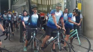 Julie and Mark Wallace at start of ride
