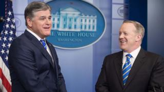 Hannity with Spicer at White House press briefing