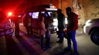 Ambulances and medical workers evacuate critically-ill patients from the besieged town of Douma, Eastern Ghouta, to Damascus, Syria December 26, 2017