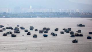 Fishing boats anchored in Mumbai