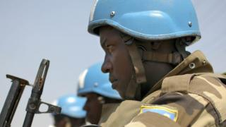 A UN peacekeeper in South Sudan