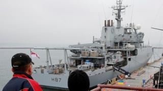 British Royal Navy ship, HMS Echo, is docked in the Black Sea port of Odessa, Ukrain
