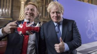 Boris Johnson following a speech at the Old Royal Naval College in London