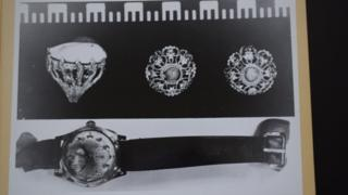 Photo from Bergen State Archives showing jewellery and a watch found near the body of the Isdal Woman