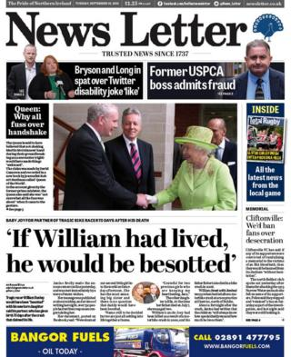 front page of the News Letter, Tuesday 18 September 2018