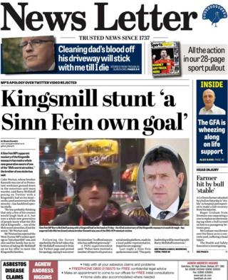 front page of the News Letter, Monday 8 January 2018