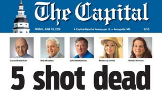 Capital gazette front page 29.6.2018