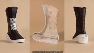 靴子的外层由菌丝体制成,里层是以菌丝体为基底的棉麻复合材料。