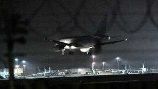 Plane lands