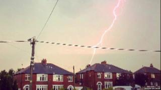 Lightning in County Durham