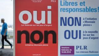 A poster for the two Swiss referendums on 10 June 2018.