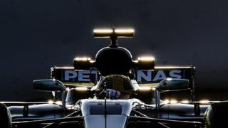 Mercedes AMG Petronas F1 Team's British driver Lewis Hamilton drives at the Circuit de Catalunya