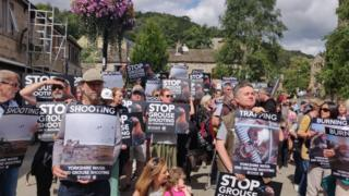 Anti-grouse shooting protestors in Hebden Bridge