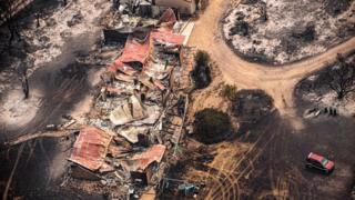 Viviendas destruidas en East Gippsland, Victoria.