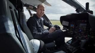 Prince William piloting an air ambulance
