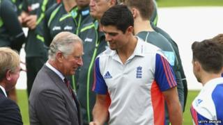 Prince Charles meets England captain Alastair Cook