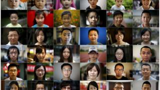 A combination of pictures show a person born in each year of China's one child policy.