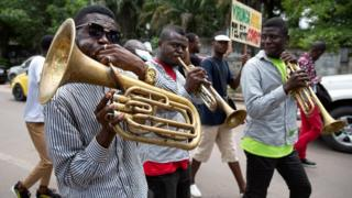 Congolese band members participate in the climate protest in the streets of Kinshasa, Democratic Republic of the Congo November 29, 2019.