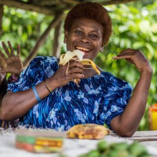 Winifred selling betel nut