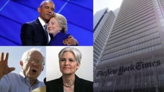 Обама с Клинтон, Сандерс, Джилл Стайн, здание редакции New York Times