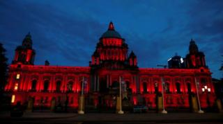 Northern Ireland Belfast City Hall is illuminated on the 75th anniversary of VE Day, Belfast, Northern Ireland, 8 May 2020